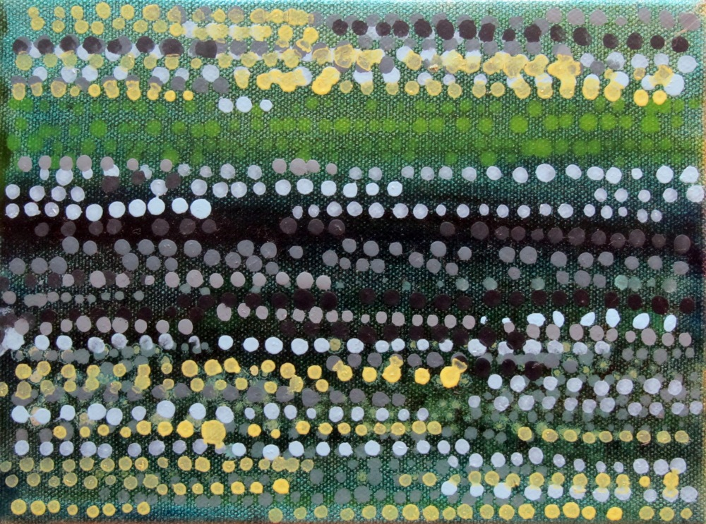"Dot Series, Deep Green and Yellow, 2006, oil + alum-silver on canvas, 6""x8"" (≈15x20cm)"