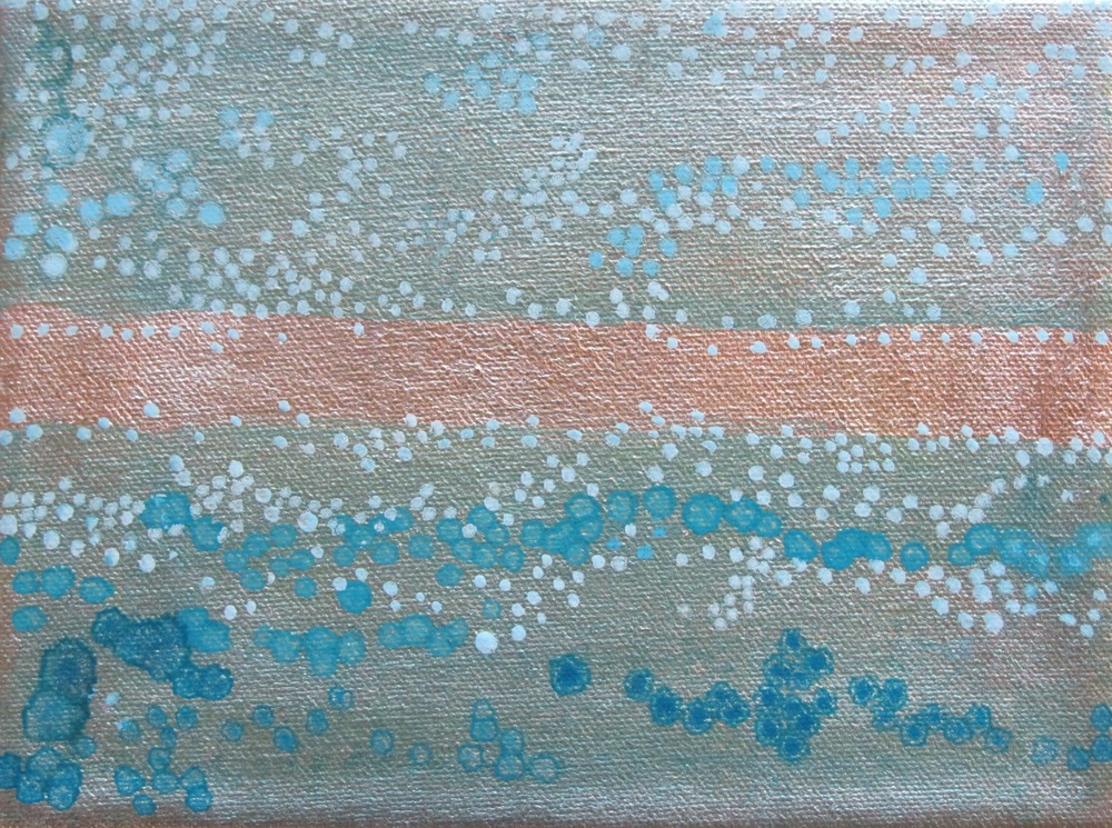 "Dot Series, Light Blue, 2006, oil + alum-silver on canvas, 6""x8"" (≈15x20cm)"