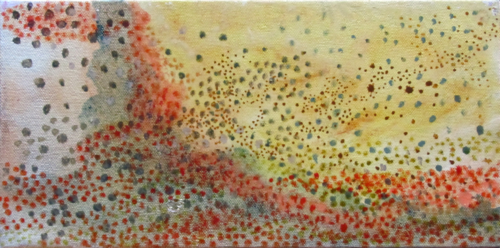 "Dot Series, Mountains, 2006, oil + alum-silver on canvas, 8""x10"" (≈20x25cm)"