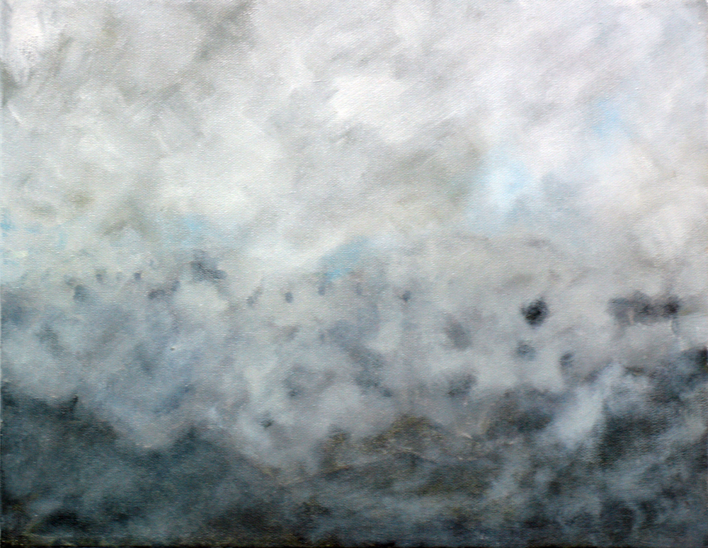 "Fog Study 1, 2006, oil + alum-silver on canvas, 11""x14"" (≈28x36cm)"