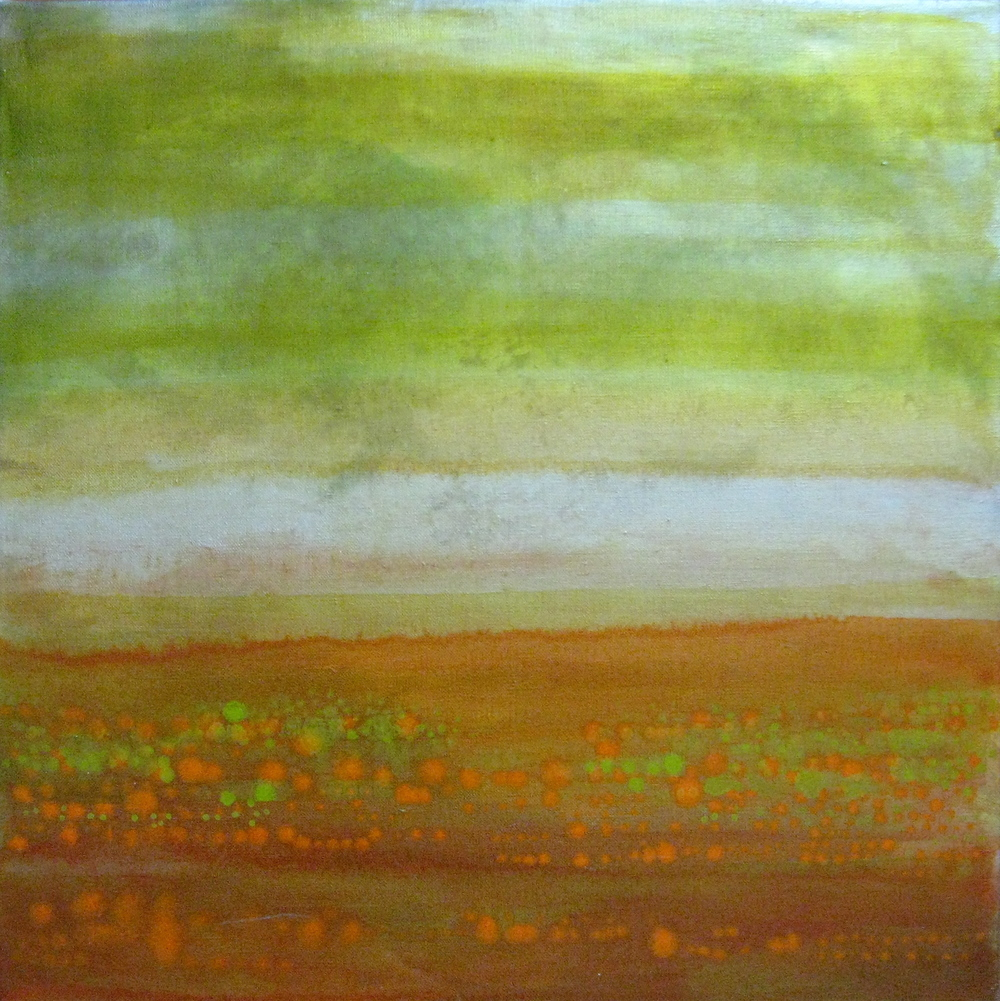 "Sea Study Red and Green, 2005,  oil + silver powder on linen, 20""x20"" (≈51x51cm)"