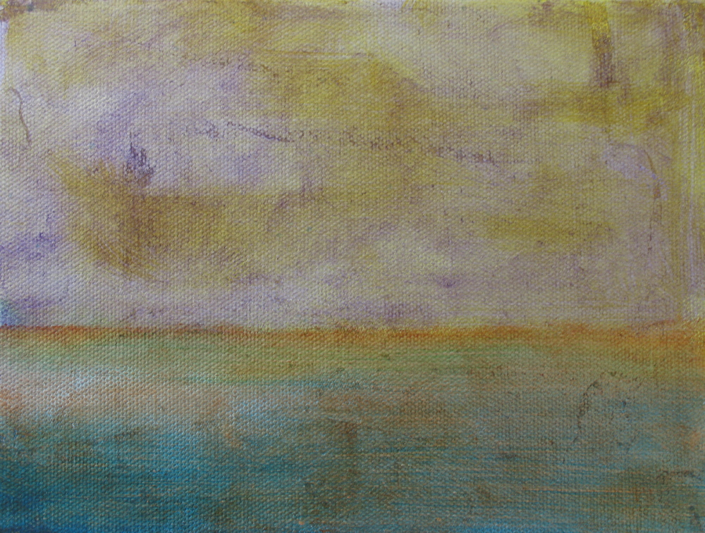 "Sea Study Turquoise and Orange, 2005,  oil + alum-silver on canvas, 6""x8"" (≈15x20cm)"