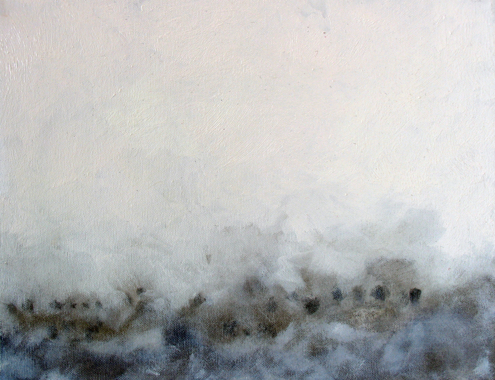 "Fog Study 2, 2006, oil + alum-silver on canvas, 11""x14"" (≈28x36cm)"