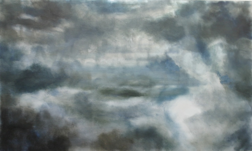 "Stormy, 2007, oil + alum-silver on canvas, 36""x60"" (≈91x152cm)"