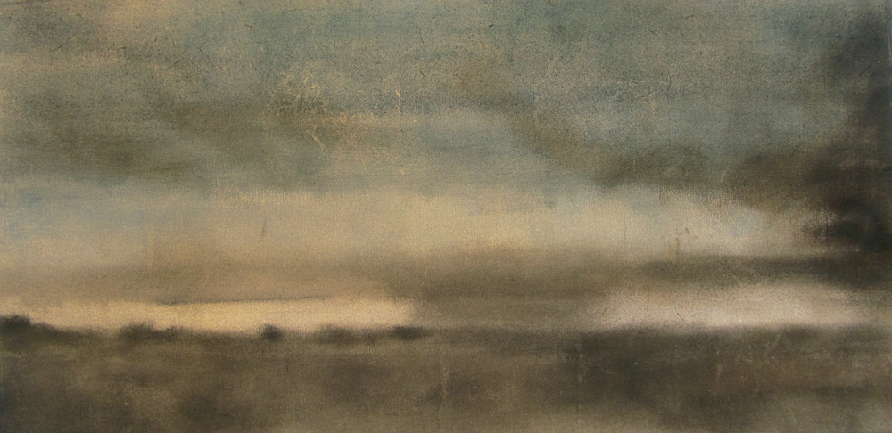 "Morning Fog, 2007, oil + alum-silver on canvas, 19""x36"" (≈48x91cm)"