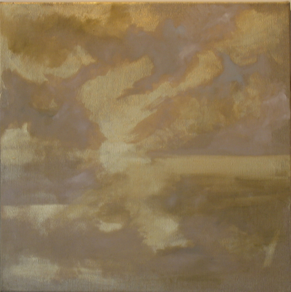 "Gold Horizon, 2006, oil + gold powder on linen, 20""x20"" (≈51x51cm)"
