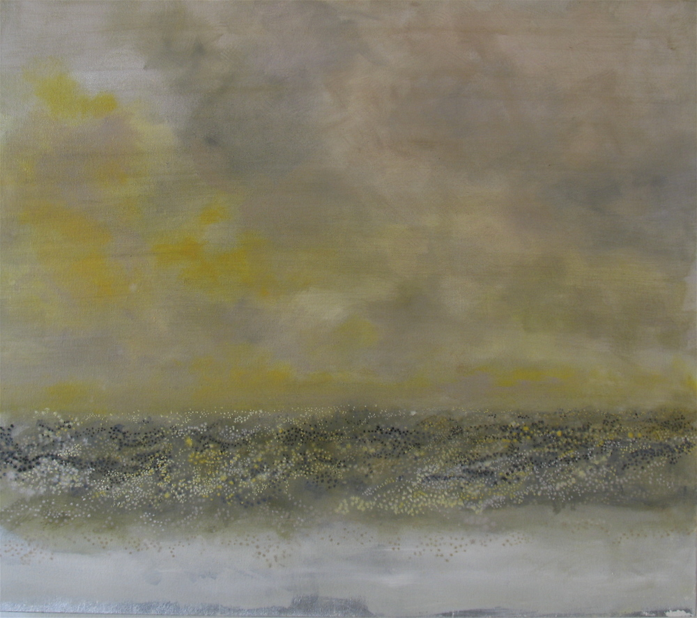 "Griffith Park (Yellow/Grey), 2006, oil + alum-silver on canvas, 19""x31"" (≈48x79cm)"