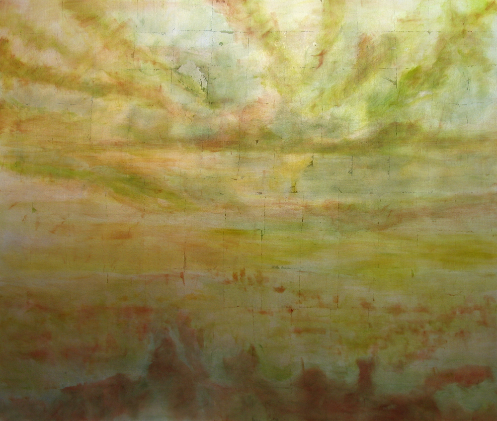 "Griffith Park (Green/Red), 2006,  oil + alum-silver on canvas, 60""x72"" (≈153x183cm)"