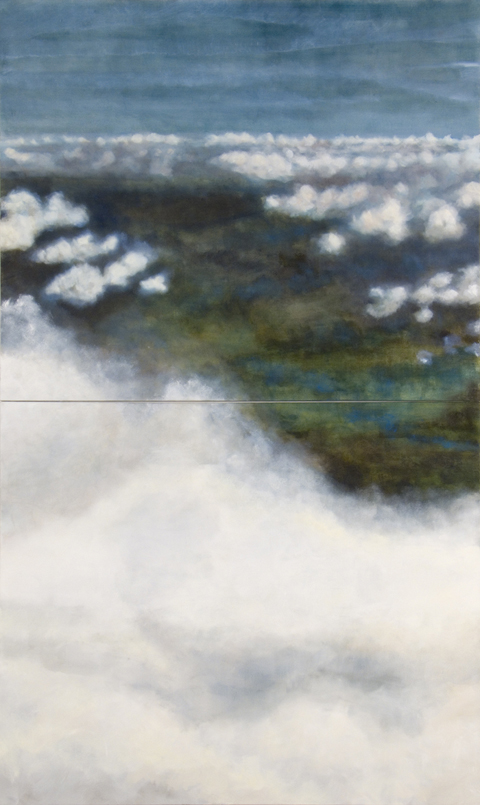 "Beyond a Place, 2006, oil + alum-silver on canvas 120""x72"" (2 Panels, 60""x72"" each) (≈305x183cm)"