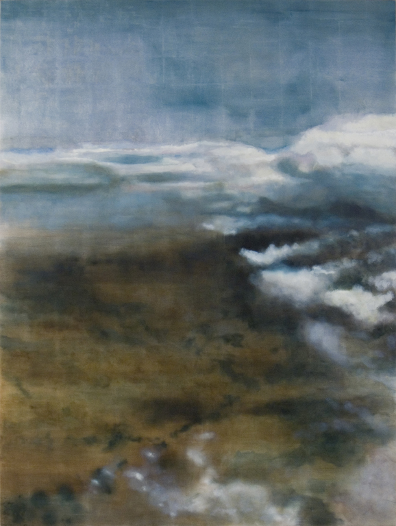 "In The Deep, 2006, oil + alum-silver on canvas, 96""x72"" (≈244x183cm)"