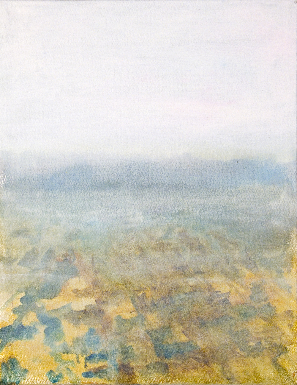 "Cloud on the Ground, 2006, oil + alum-silver on canvas, 14""x11"" (≈36x28cm)"