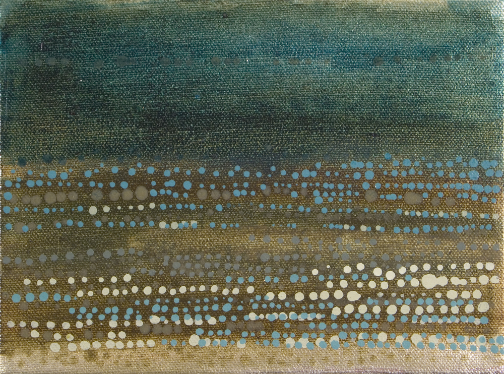 "Dot Series No. 12, 2006,  oil + alum-silver on canvas 6""x8"" (≈15x20cm)"
