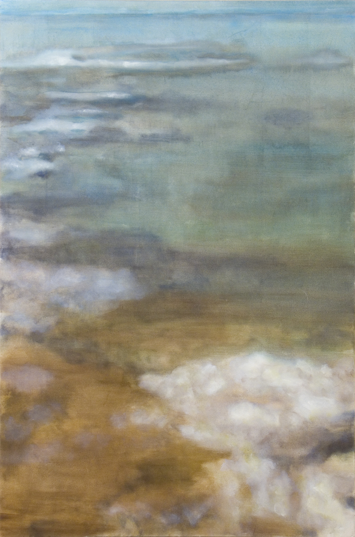 "Flying High, 2006,  oil + alum-silver on canvas, 61""x40"" (≈155x102cm)"