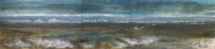 "Horizon, 2006, oil + alum-silver on canvas  36""x156"" (3 Panels- L: 36""x60"", M: 36""x36"",  R: 36x60"") (≈91x396cm)"