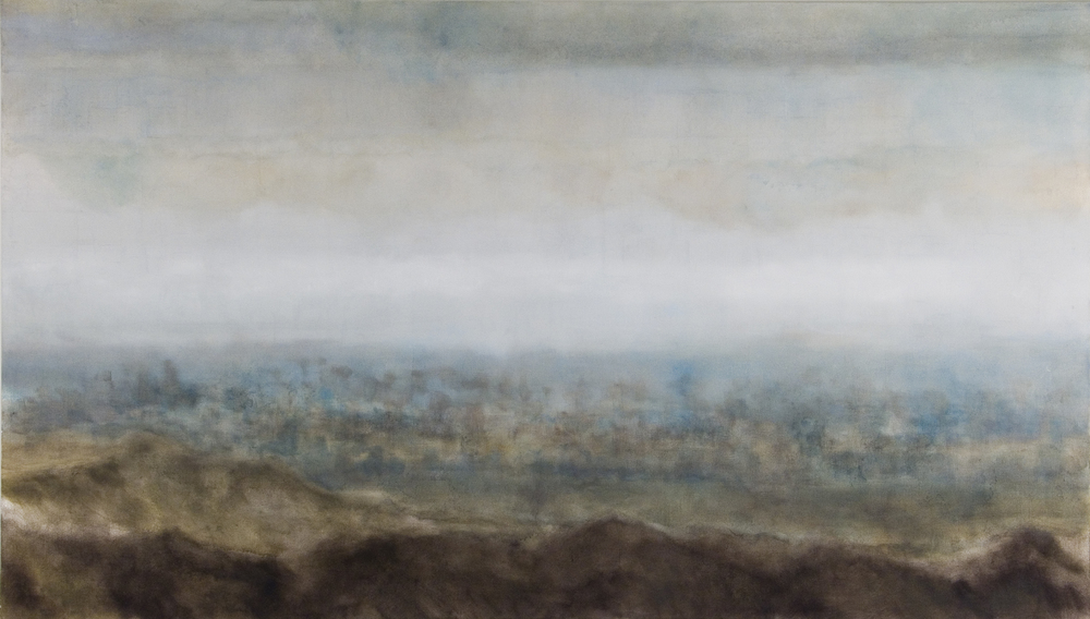 "No Blue Sky, 2006, oil + alum-silver on canvas, 48""x84 (≈123x213cm)"