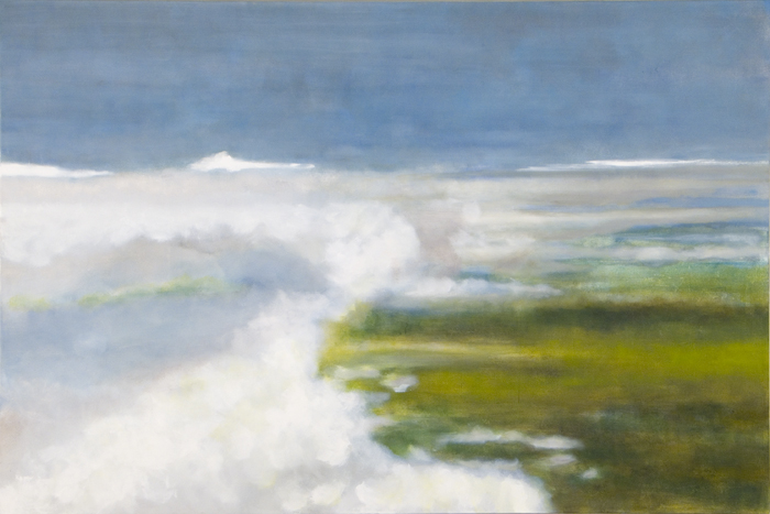 "Up Here, 2006, oil + alum-silver on canvas, 48""x72"" (≈122x183cm)"