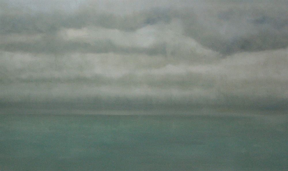 "Jade Sea, 2007, oil + alum-silver on canvas, 36""x60"" (≈91x152cm)"