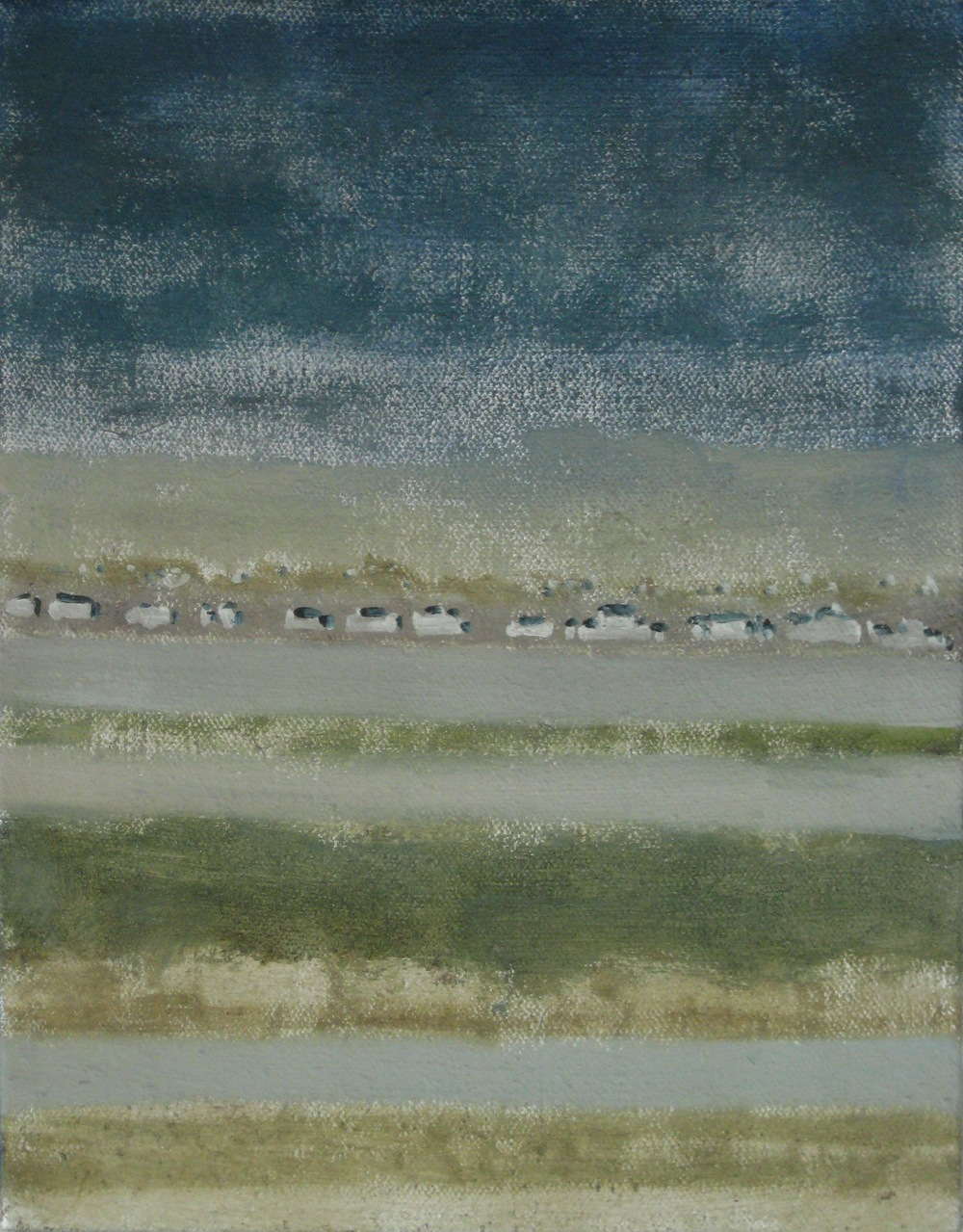 "Camping Line, 2008, oil + alum-silver on canvas, 14""x11"" (≈36x28cm)"