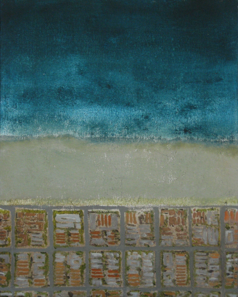 "Huntington Roofs, 2008, oil + alum-silver on canvas, 14""x11"" (≈36x28cm)"