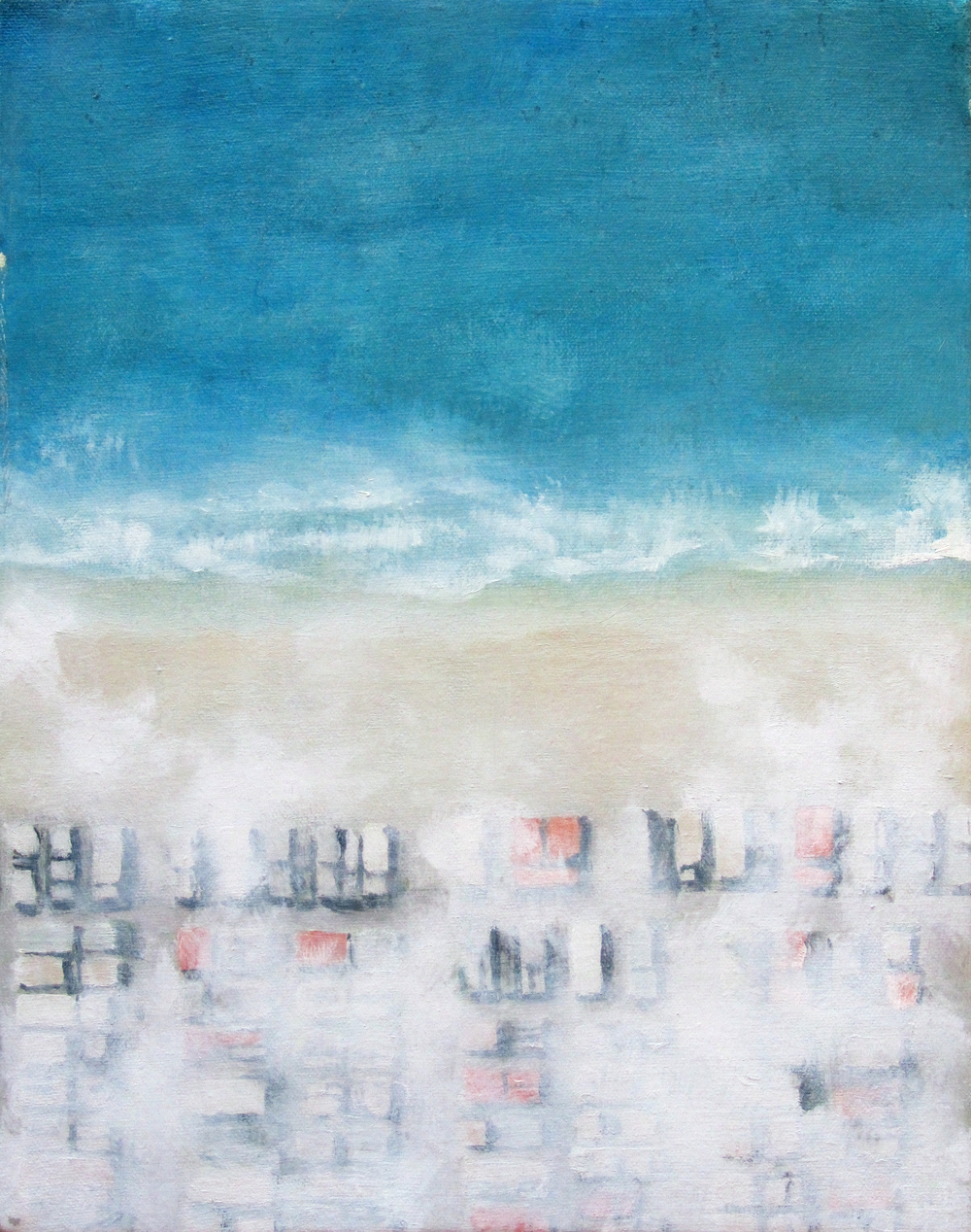 "Offshore, 2008, oil + alum-silver on canvas, 14""x11"" (≈36x28cm)"