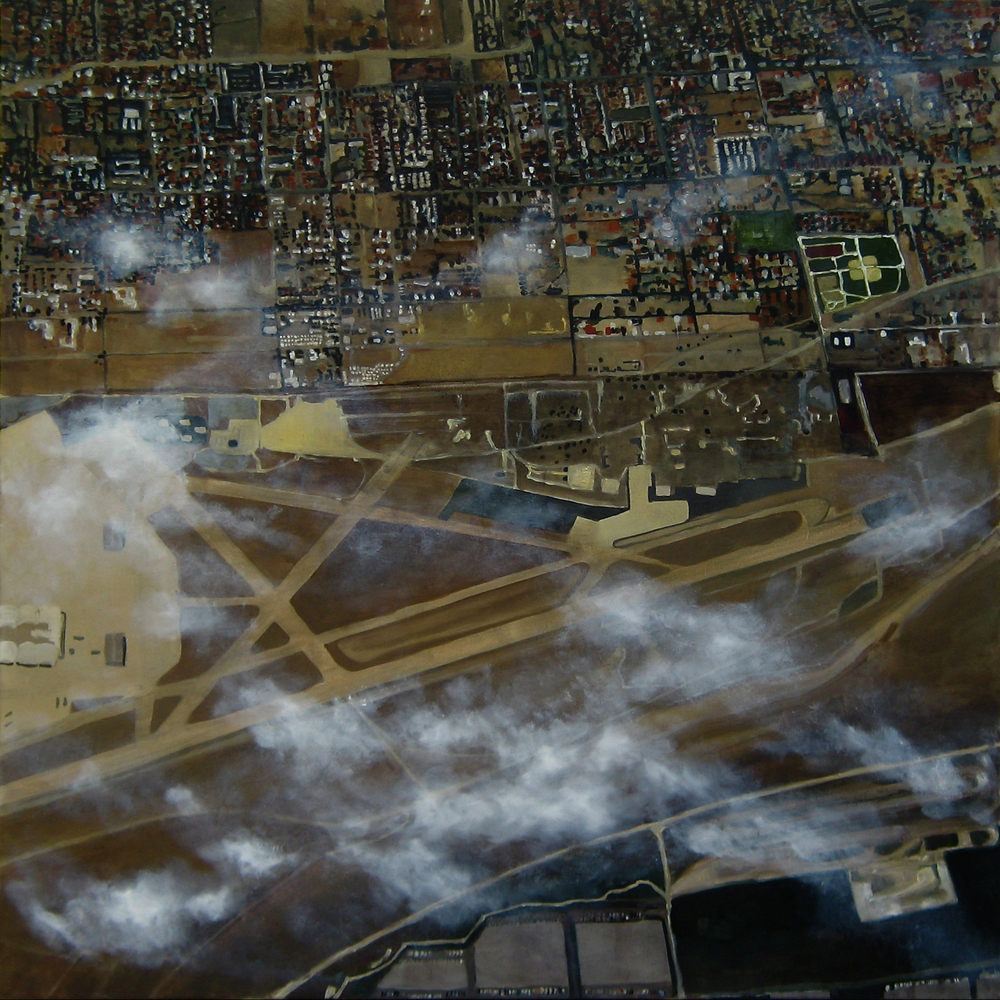 "Air-Port, 2007, oil on canvas, 46""x46"" (≈107x107cm)"
