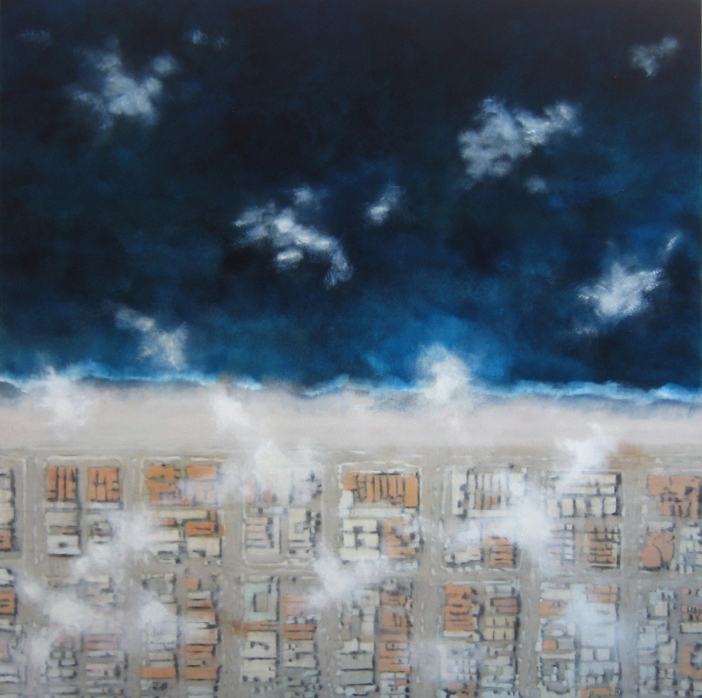 "It's for the Birds, 2008, oil + alum-silver on canvas, 42""x42"" (≈107x107cm)"