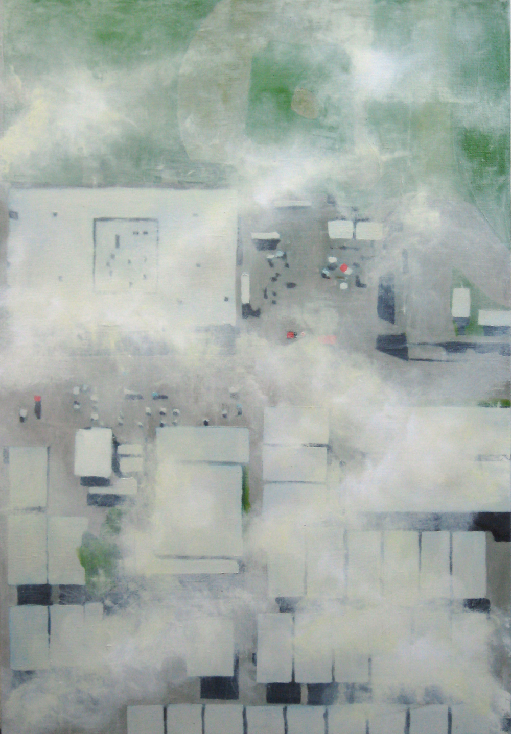 "Roofs, 2008, oil on canvas, 29""x20"" (≈74x51cm)"