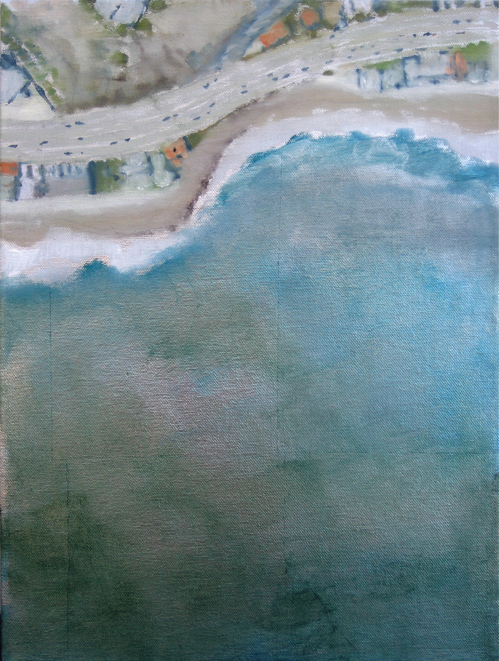 "Adrift Series #6, 2008, oil + alum-silver on canvas, 16""x12"" (≈41x30cm)"