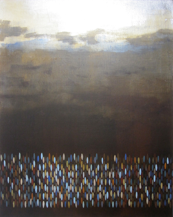 "Afloat (Umber), 2009, acrylic + alum-silver on canvas, 30""x24"" (≈76x61cm)"