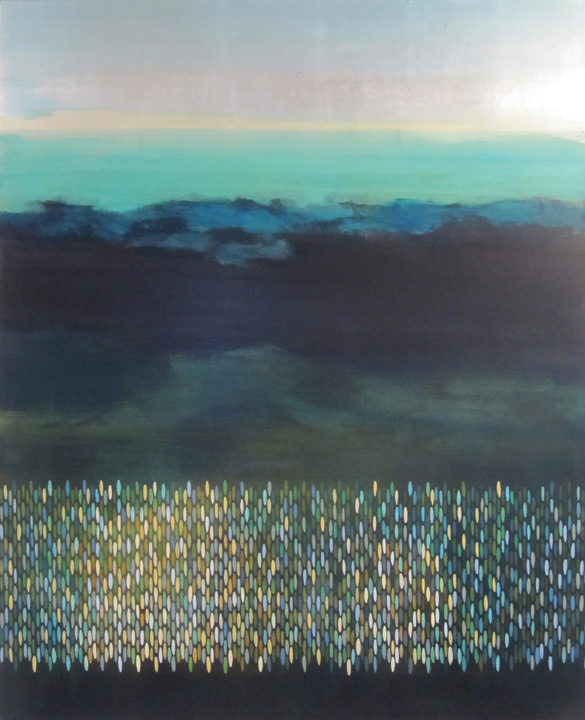 "Underway, 2010, acrylic + alum-silver on canvas, 42""x34"" (≈107x86cm)"