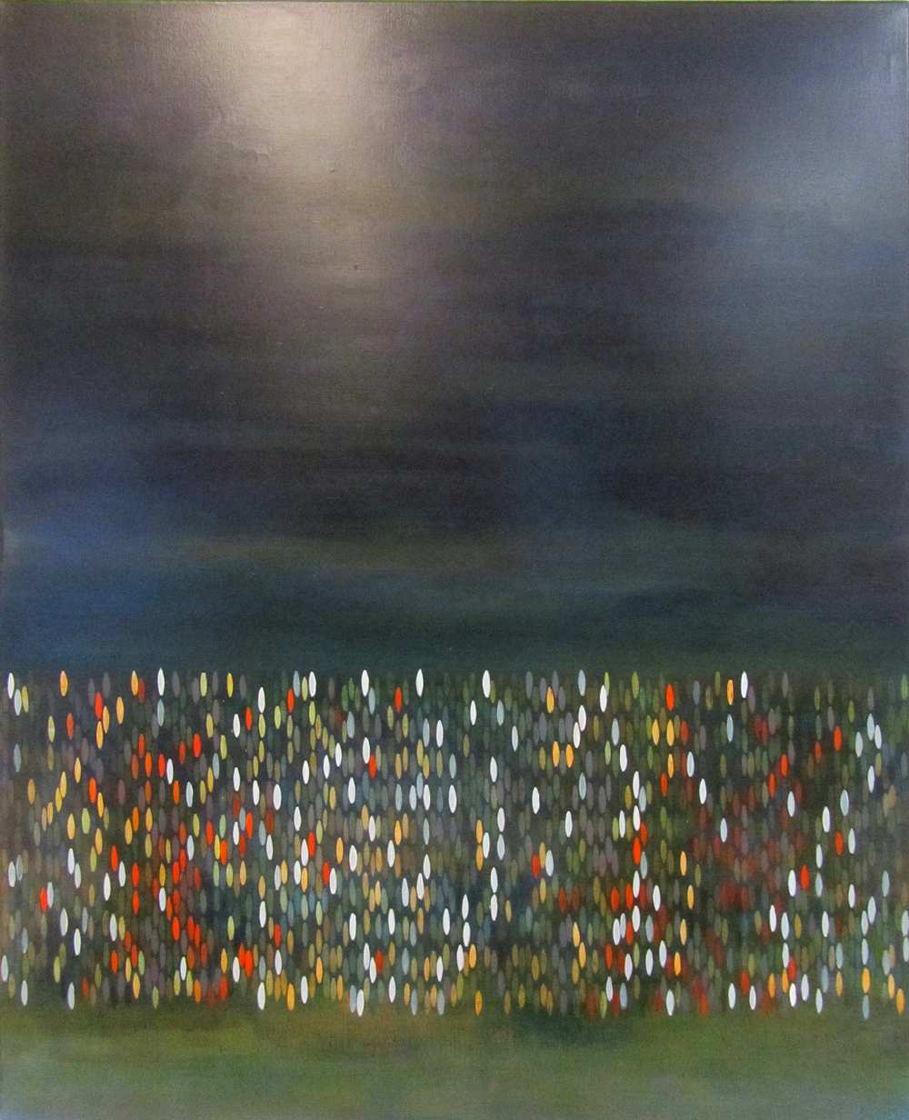 "Afloat (Deep Sea), 2011,  acrylic + alum-silver on canvas, 42""x34"" (≈107x86cm)"