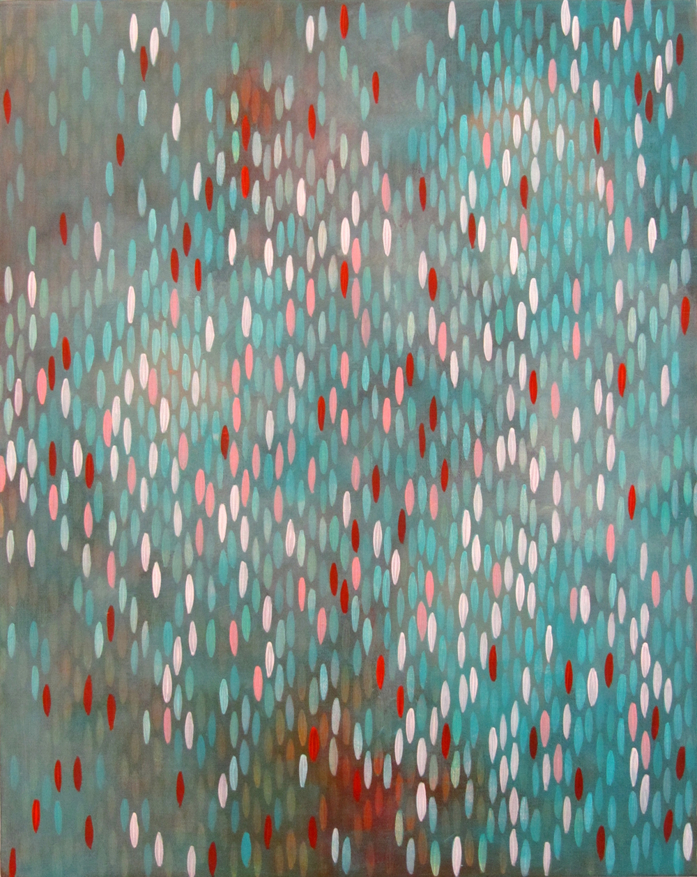 "Surge, 2011, acrylic + copper on canvas, 20""x""16 (≈51x41cm)"
