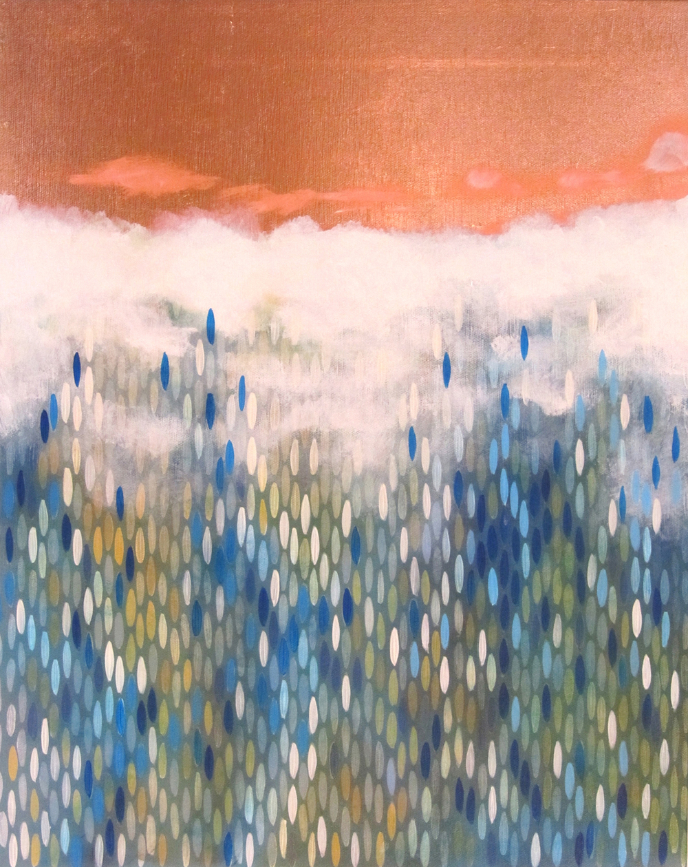 "True North, 2011,  acrylic + copper on canvas, 20""x""16 (≈51x41cm)"