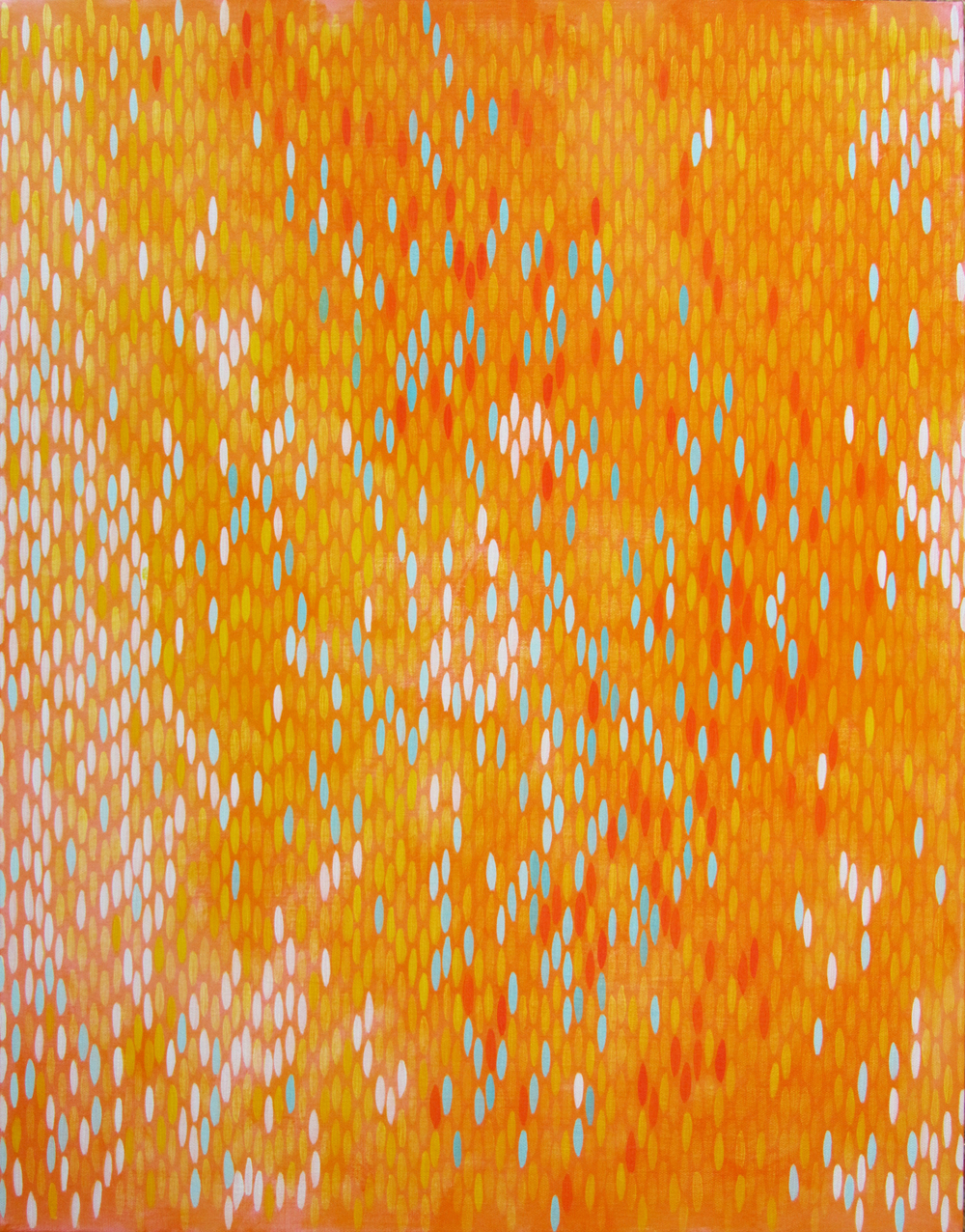 "Afloat (Orange Turquoise), 2011, acrylic on canvas, 28""x20"" (≈71x51cm)"