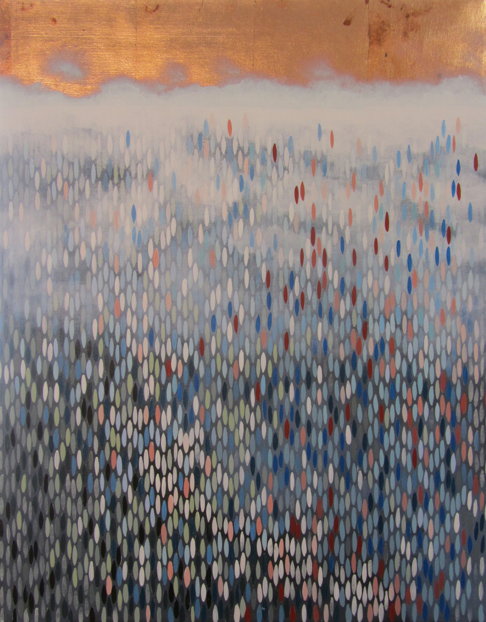 "Awash, 2011, acrylic + copper on canvas, 28""x22"" (≈71x56cm)"