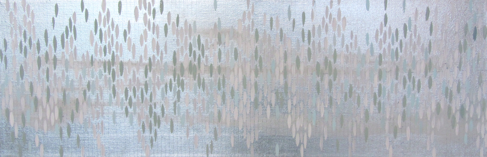 "As the Crow Flies, 2011, acrylic + alum-silver on canvas, 10"" x 30"" (≈25x76cm)"