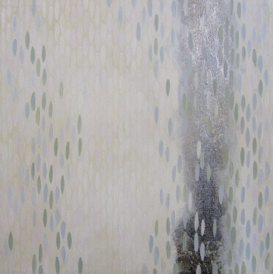 "Weiss Lust (Greens), 2012, acrylic + alum-silver on canvas, 10""x10"" (≈25x25cm)"