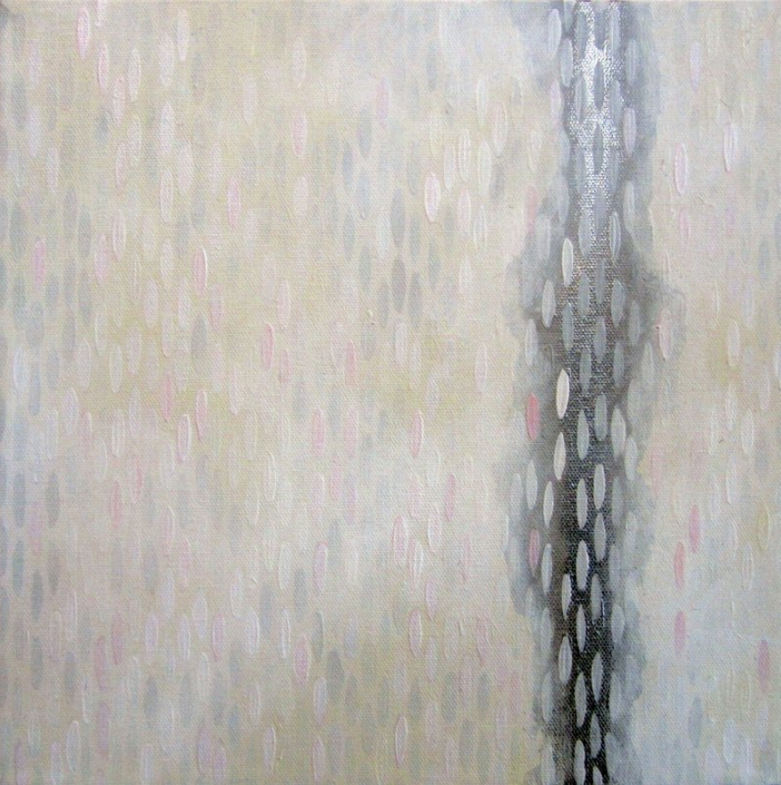 "Weiss Lust (Yellows), 2012, acrylic + alum-silver on canvas, 10""x10"" (≈25x25cm)"