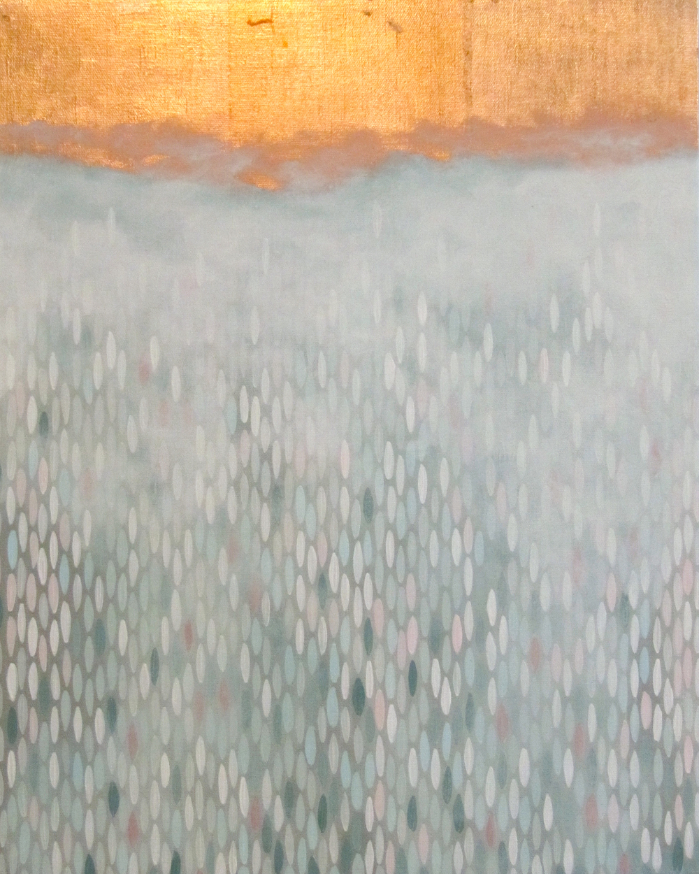 "Fog Horn, 2012,  acrylic + copper on canvas, 20""x""16 (≈51x41cm)"