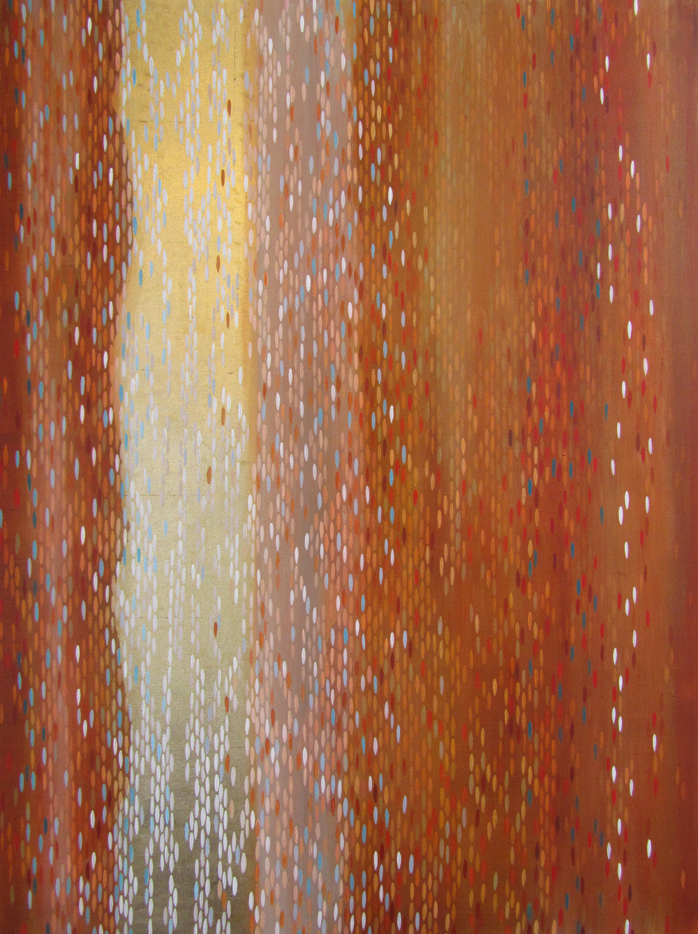 "Red Tide, 2012, acrylic + gold on canvas, 40""x30"" (≈102x76xcm)"
