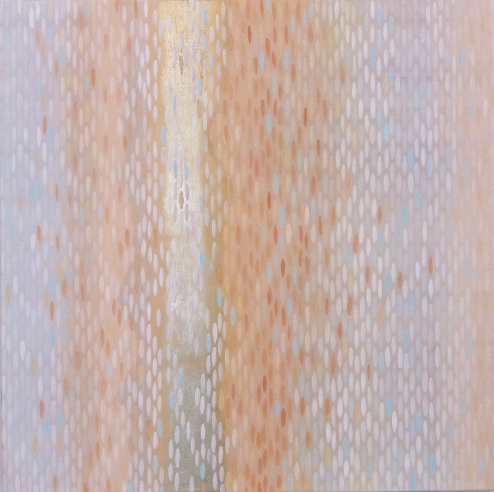 "Peach, 2012, acrylic + gold on canvas, 20""x20"" (≈51x51cm)"