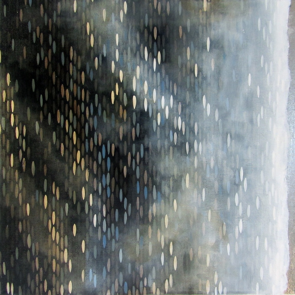 "Nightfall, 2012, acrylic + gold on canvas, 18""x18"" (≈47x47cm)"