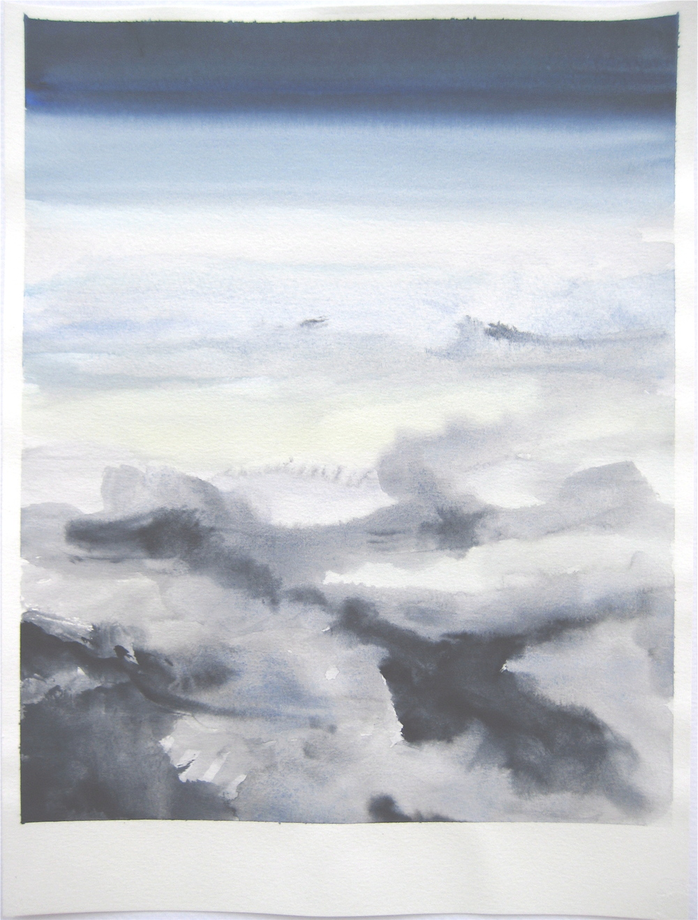 "Sky #4.3/2007, 2007, watercolor on paper paper: 12 6/8""x9 1/2""; image: 11 1/2""x 9"""