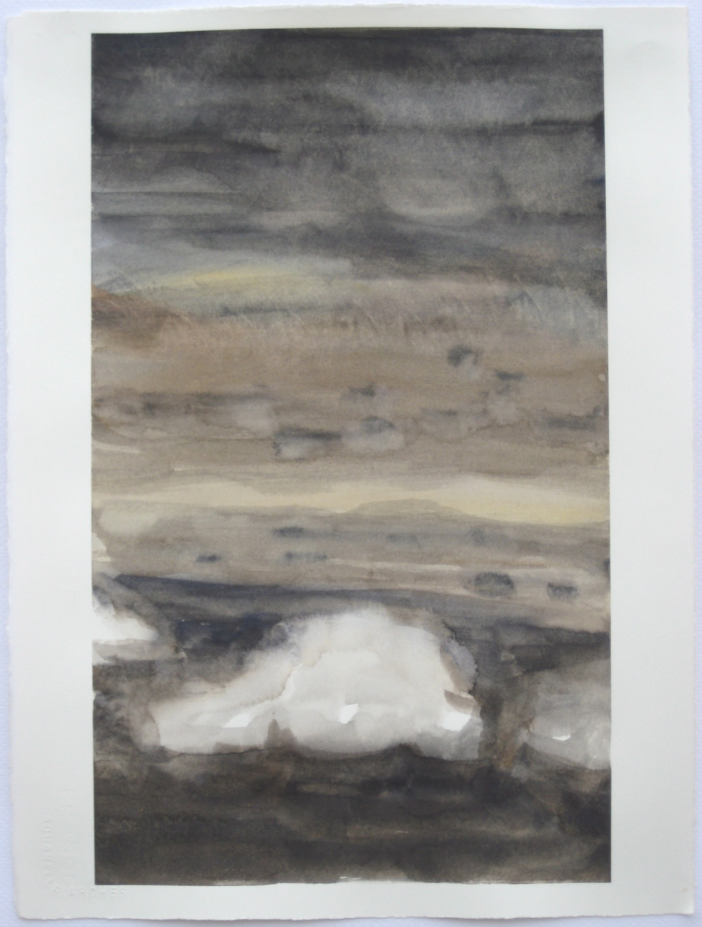 "Sky #5.4/2007, 2007, watercolor on paper paper: 15 1/4""x11 1/4""; image: 14""x8 6/8"""