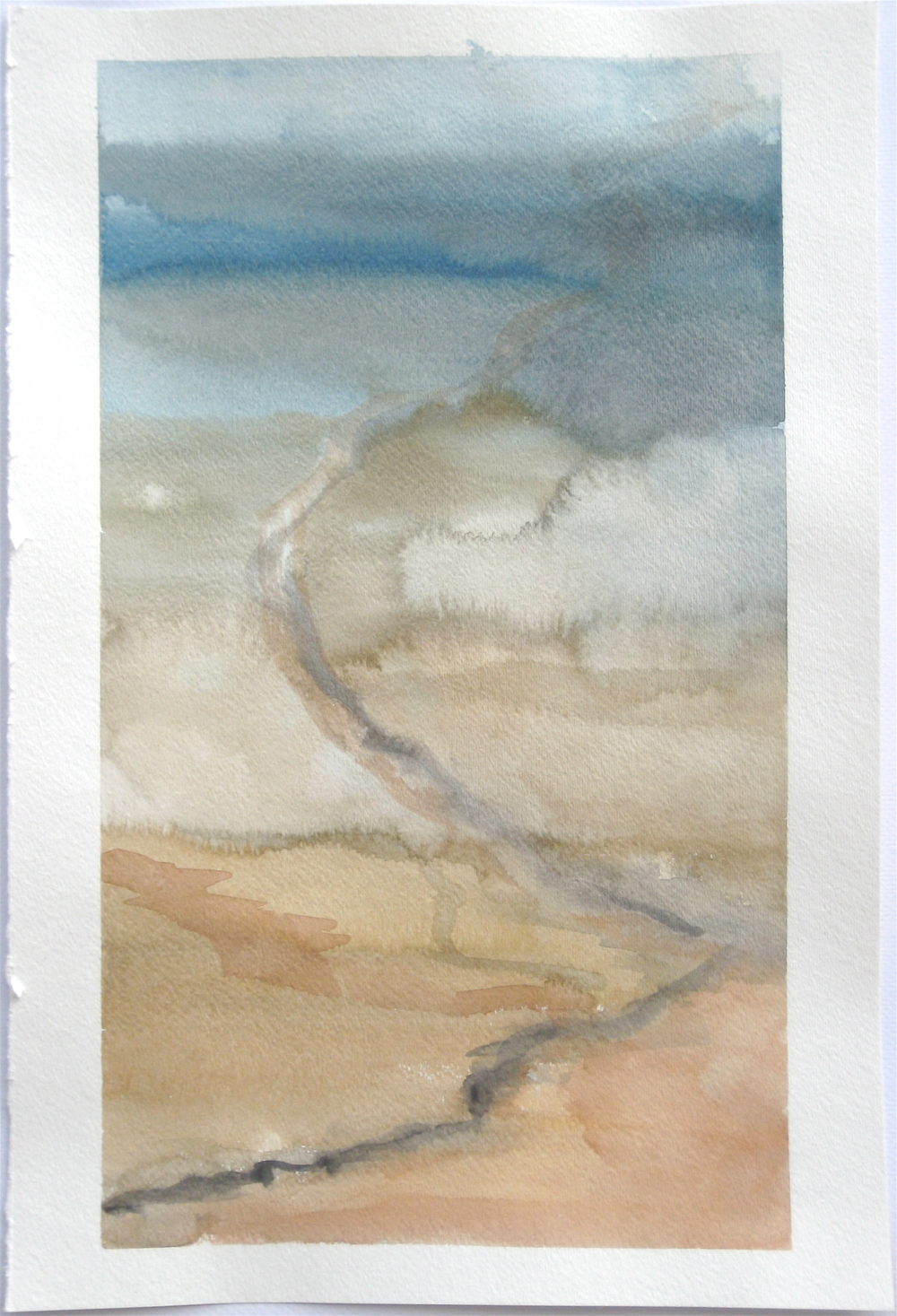 "Sky #9.4/2007, 2007, watercolor on paper paper: 18""x12""; image: 17""x9 1/4"""