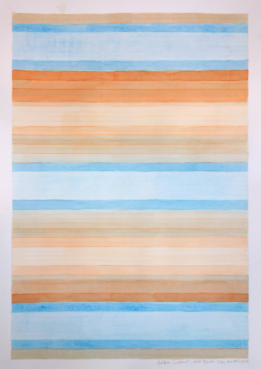 "Color Bands - Sky/Earth, 2013, Watercolor and Gouache on Paper, 20""x15"""