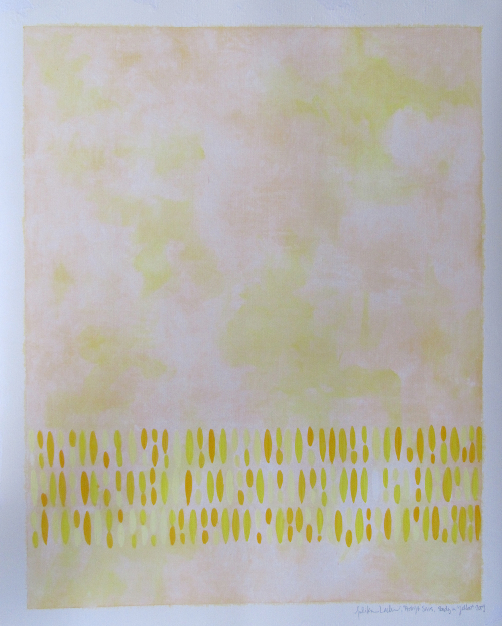 "Afloat on Paper (Yellow), 2009,  oil on canvas paper, 20""x16"" (≈51x41cm)"