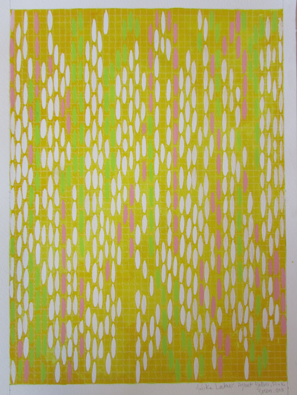 "Afloat on Paper (Yellow/Pink/Green), 2011, watercolor and gouache on paper 16""x12"" (≈41x30cm)"
