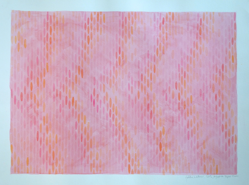 "Afloat on Paper (Rose), 2013, watercolor and gouache on paper 15""x20"" (≈38x50cm)"