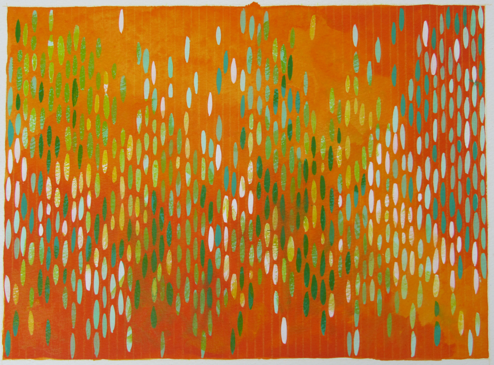 "Afloat on Paper (Orange/Green), 2011, watercolor and gouache on paper 15""x20"" (≈38x50cm)"